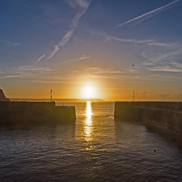 """Sunrise over Charlestown Harbour"" stock image"