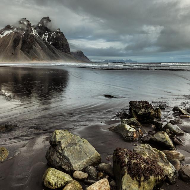 """Shoreline at Vestrahorn Mountain, Iceland"" stock image"