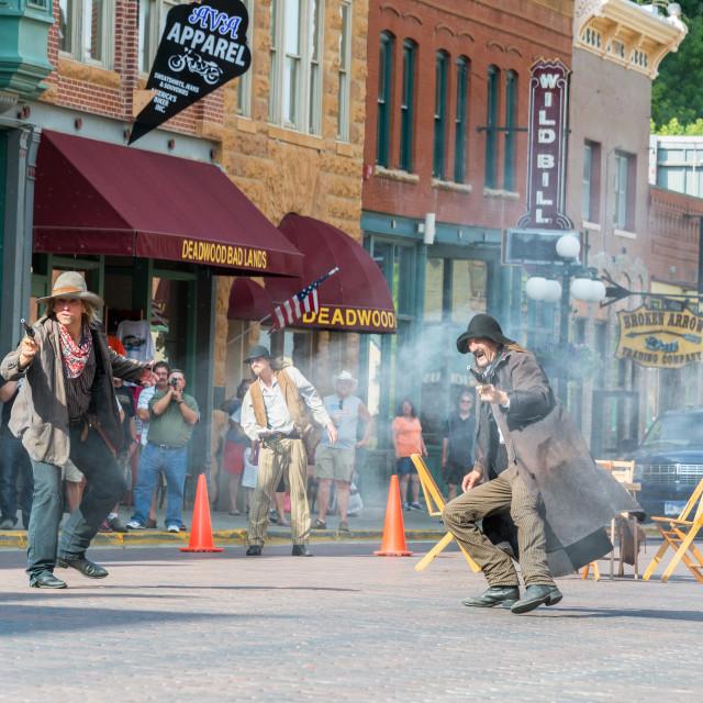 """Gunfight Reenactment in Deadwood, South Dakota"" stock image"