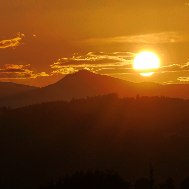 """Bennachie August sunset"" stock image"
