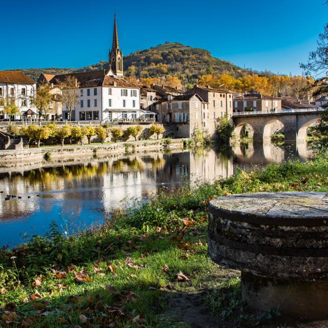 """The Aveyron River at Saint-Antonin-Noble-Val"" stock image"