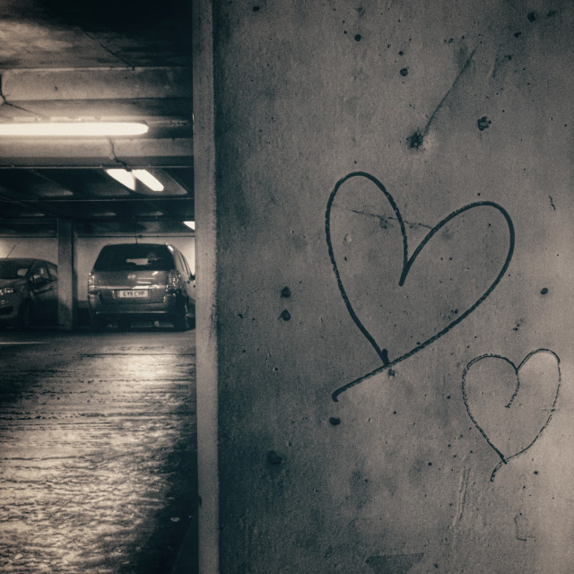 """Romance in a Car Park"" stock image"