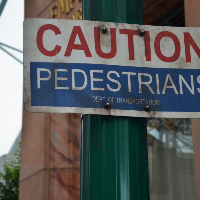 """Caution pedestrian crossing signs"" stock image"