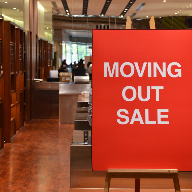 """Moving out sale"" stock image"