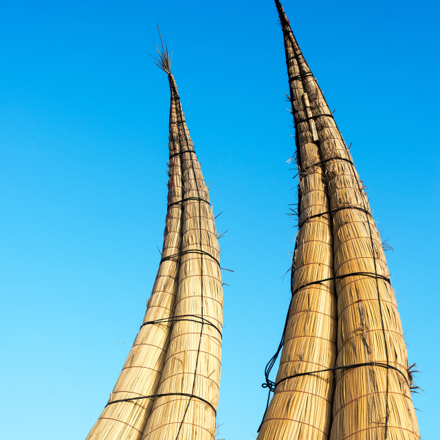 """""""Reed Boats in Huanchaco, Peru"""" stock image"""