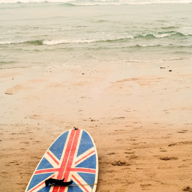 """Union jack surfboard"" stock image"