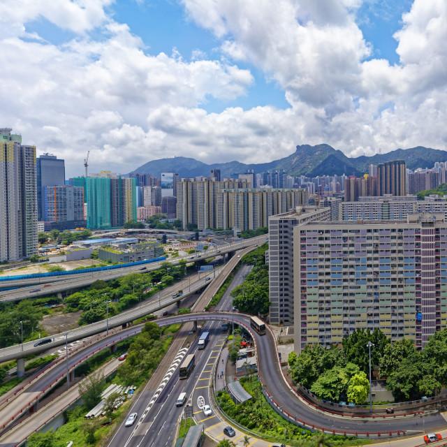 """hong kong public estate buildings with landmark lion rock"" stock image"
