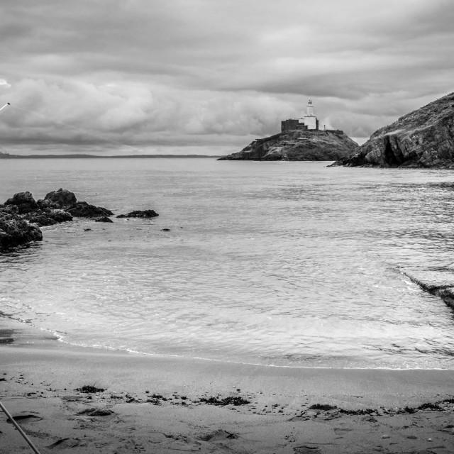 """""""Sea Fishing Mumbles Lighthouse"""" stock image"""