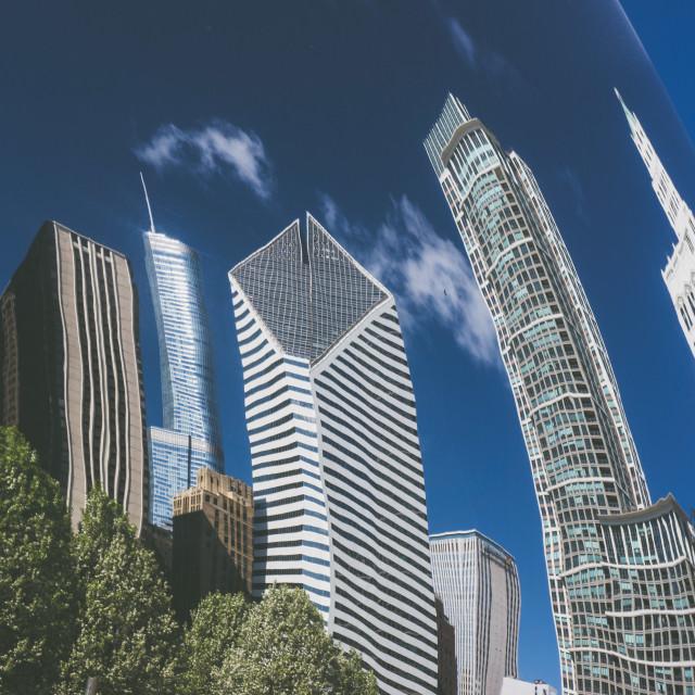 """""""Chicago skyline reflection"""" stock image"""