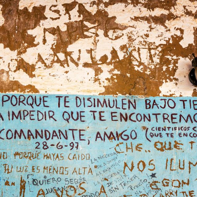 """Graffiti Where Che Guevara Died"" stock image"