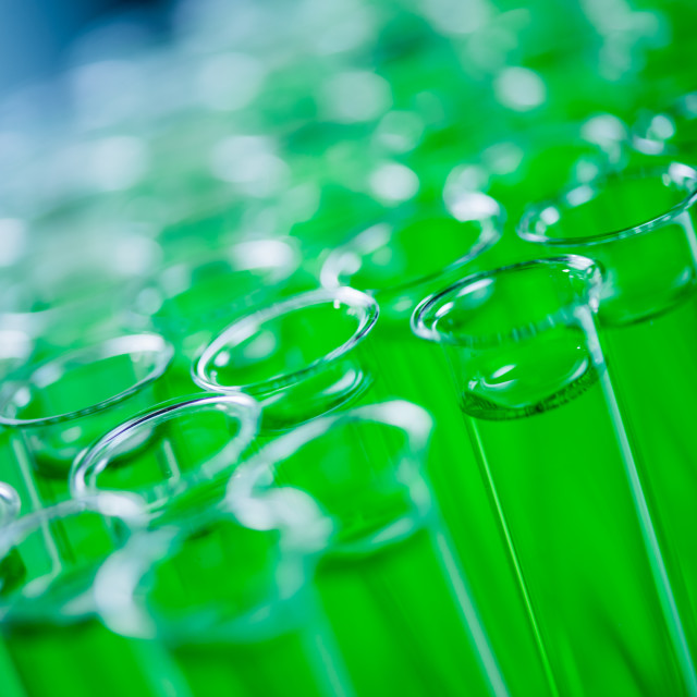 """Laboratory, green test tube"" stock image"