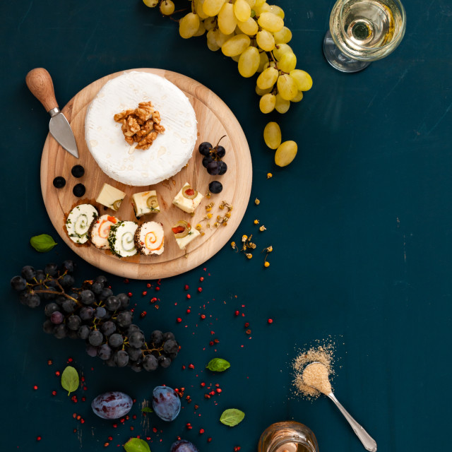 """Cheese and grapes"" stock image"