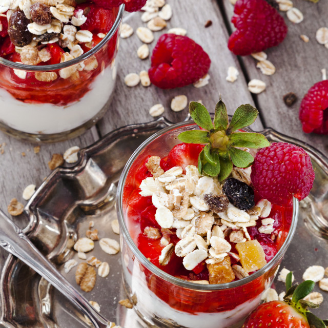 """Yogurt with strawberries and raspberries"" stock image"