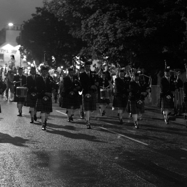 """Grand Torchlight Procession, Dumfries and Galloway."" stock image"