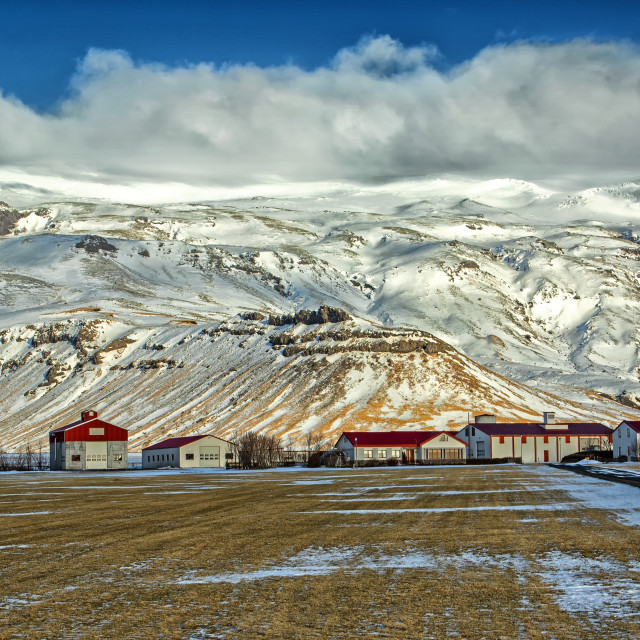 """Farm at foot of Eyjafjallajokull"" stock image"
