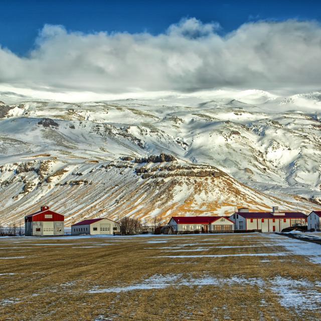 """Farm at foot of Eyjafjallajokull"" stock image"