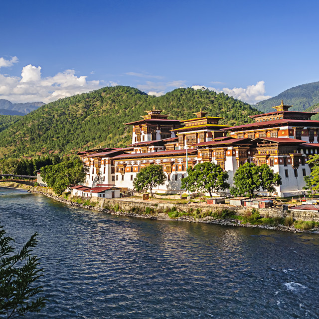 """Punakha Dzong, Fortress of Bhutan, copy space"" stock image"