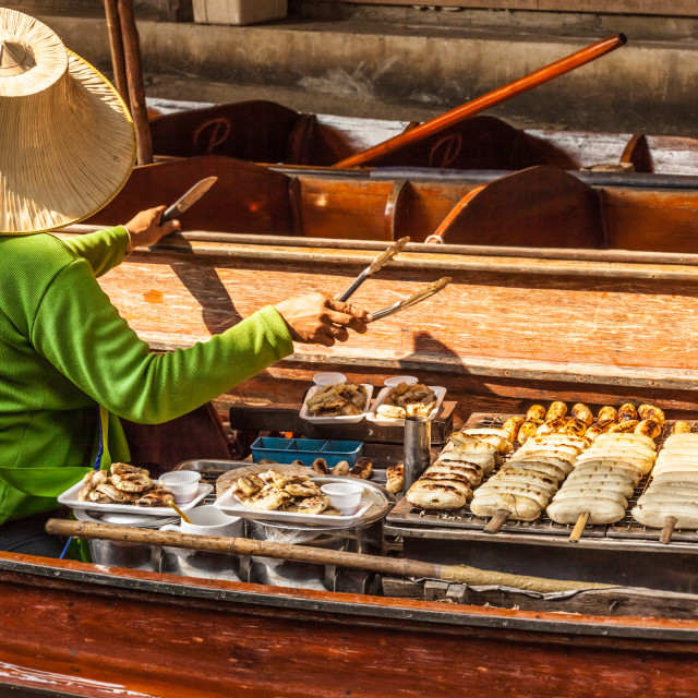"""""""grilled bananas in Floating market"""" stock image"""