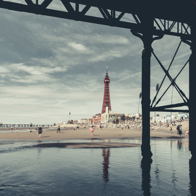 """""""Blackpool on a hot day"""" stock image"""