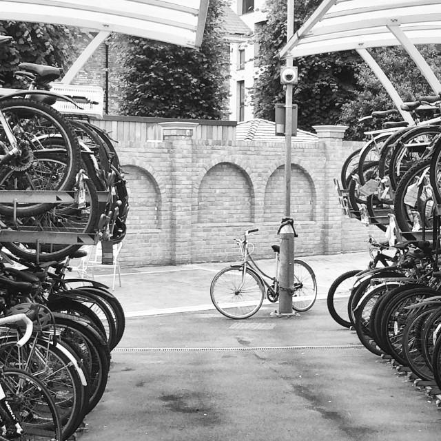 """Bike Rack, Chelmsford Station"" stock image"