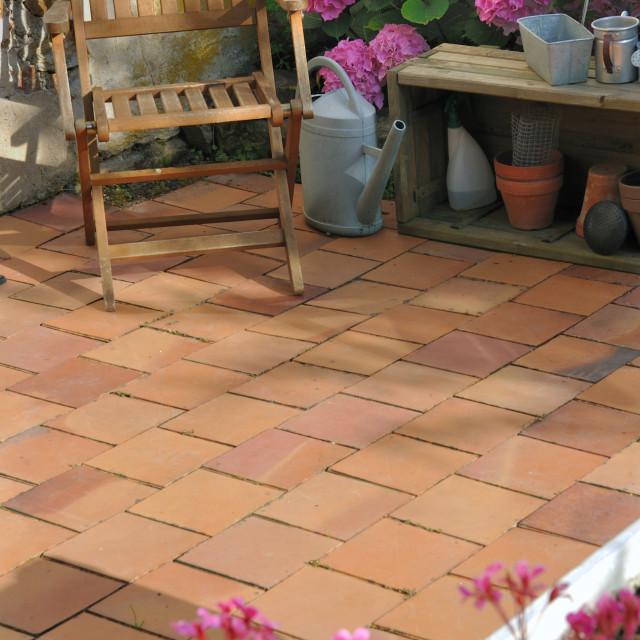 """terracotta tiles patio"" stock image"