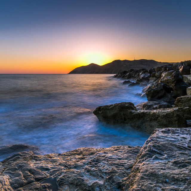 """Sunrise landscape in Crete, Greece"" stock image"