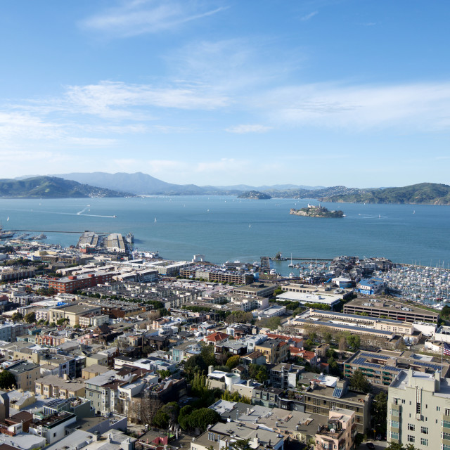 """San Francisco Bay and Alcatraz Island"" stock image"