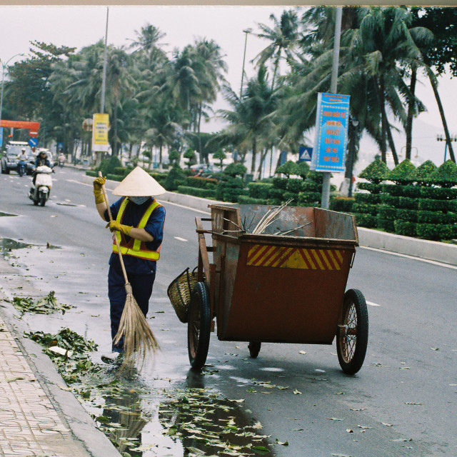 """""""Cleaning up the city"""" stock image"""