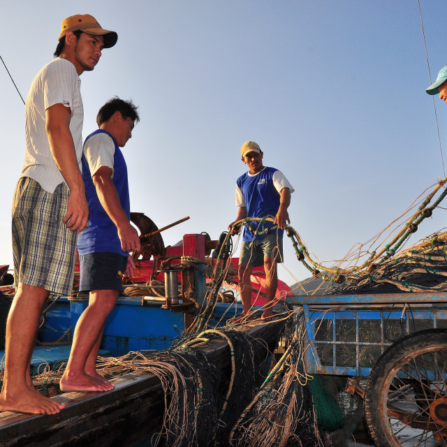 """""""Preparing for a new fishing day"""" stock image"""