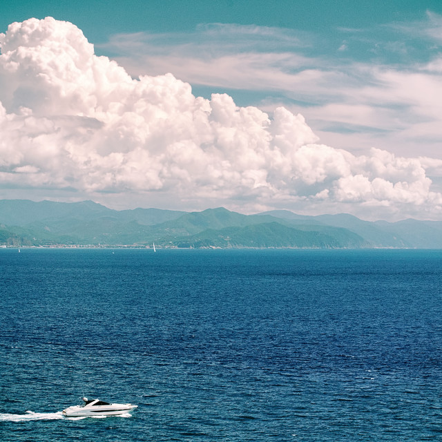 """The Ligurian Sea as seen from the hills of Portofino"" stock image"