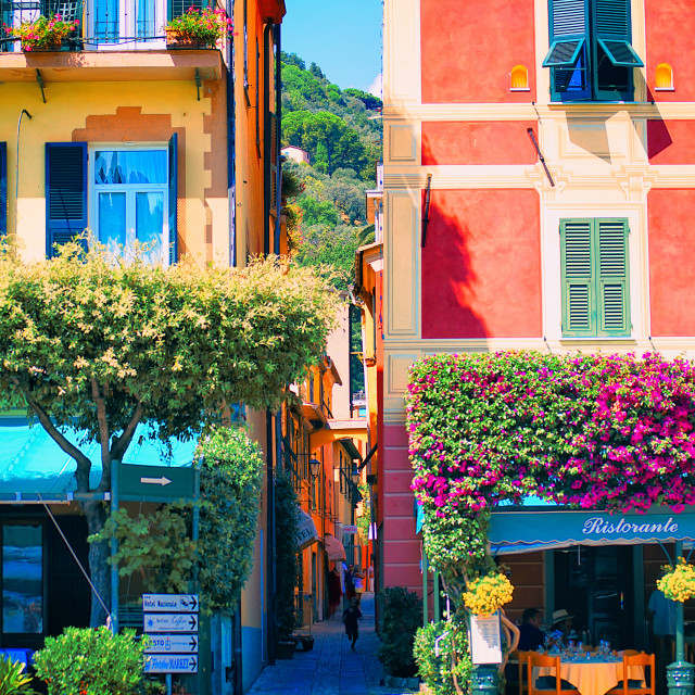 """Colourful Houses in Portofino Harbour"" stock image"