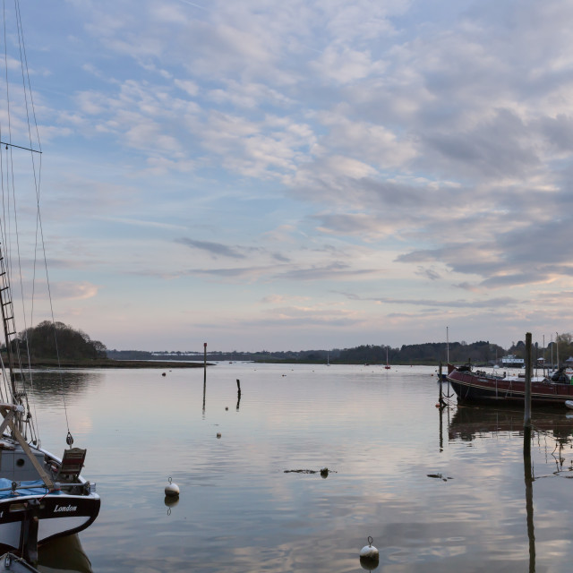 """Evening Reflections, Woodbridge, Suffolk"" stock image"