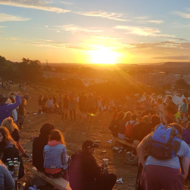 """""""Glastonbuy Festival Sunset"""" stock image"""