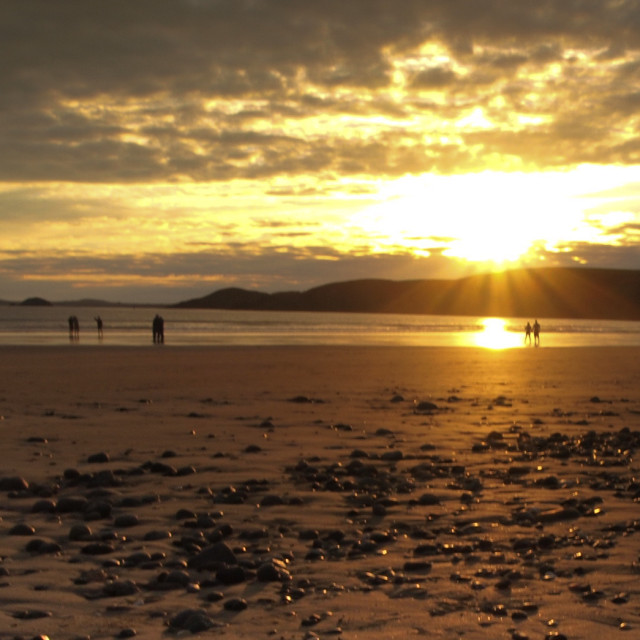 """Sunrise on Newgale beach"" stock image"