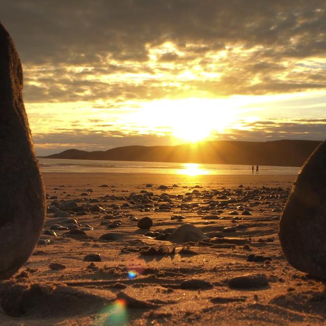 """Newgale beach stones"" stock image"