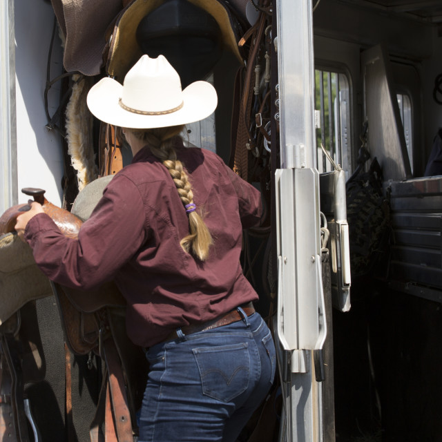 """Packing up the saddles"" stock image"