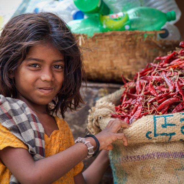 """Girl with Chillies"" stock image"