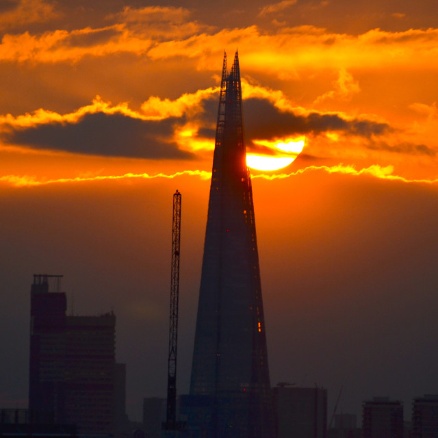 """Sundown behind The Shard"" stock image"