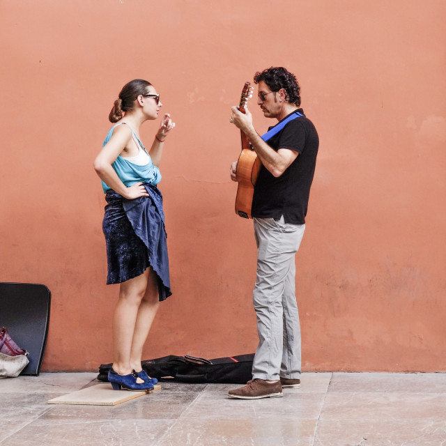 """Couple, street musicians"" stock image"