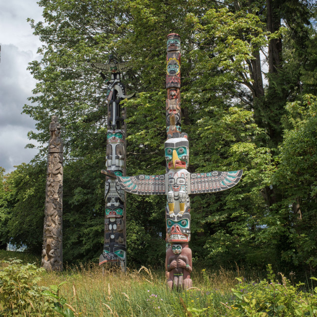 """""""Totem poles in Vancouver, Canada"""" stock image"""