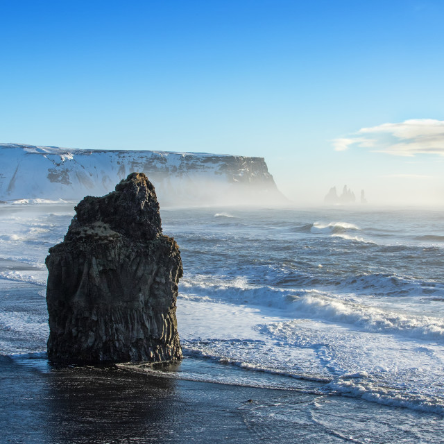 """Sea Stack at Dyrholaey, Iceland"" stock image"