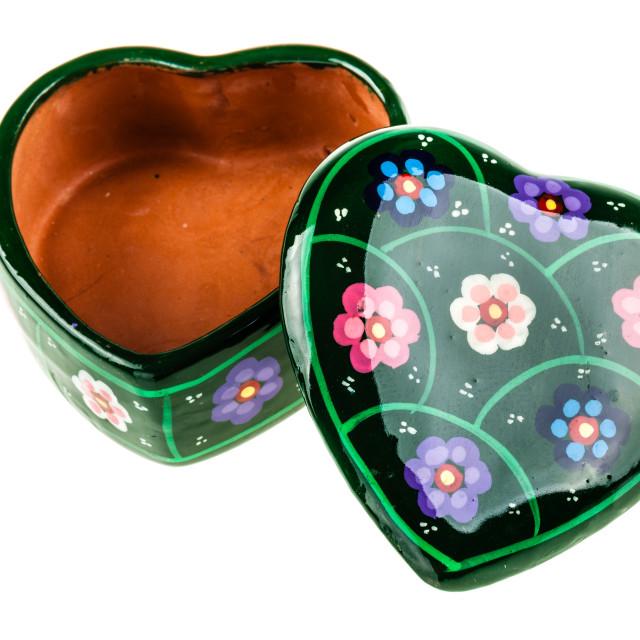 """Open heart shaped box"" stock image"