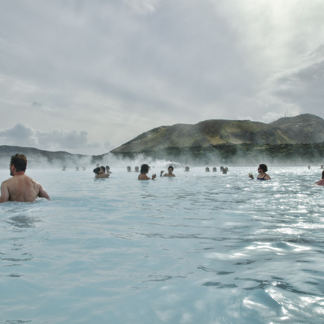 """""""In the Blue Lagoon in Iceland"""" stock image"""