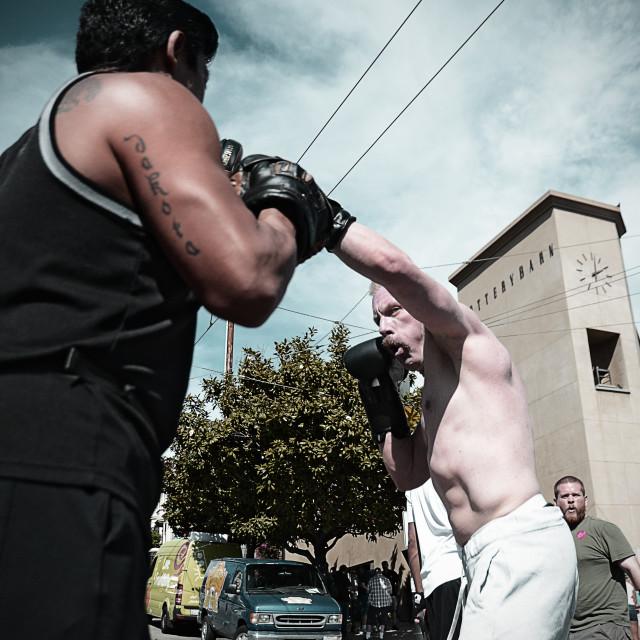 """Men sparring"" stock image"