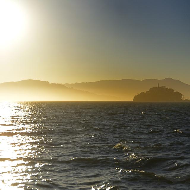 """Alcatraz in hazy sunlight"" stock image"