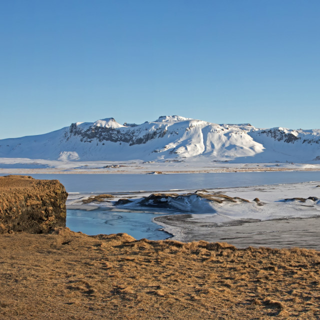 """""""Panorama of Black Sand Beach and Mountains at Dyrholaey, Iceland"""" stock image"""