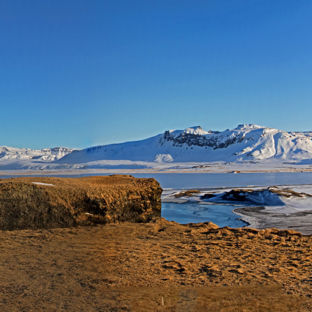 """Panorama of Black Sand Beach and Mountains at Dyrholaey, Iceland"" stock image"