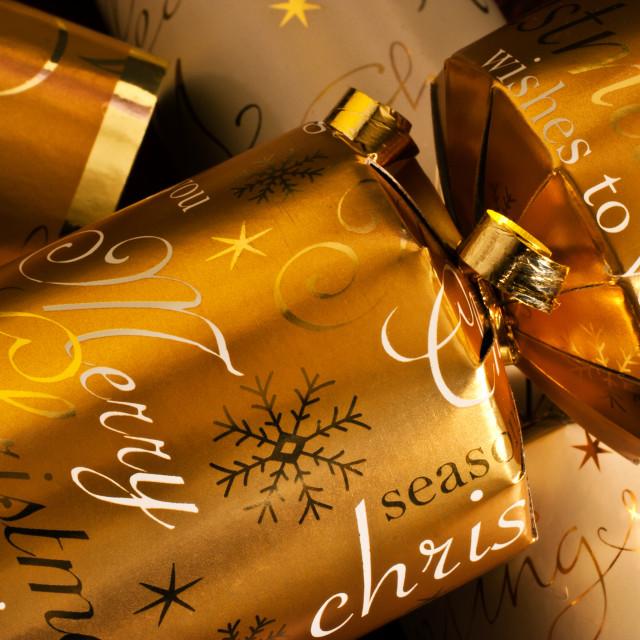 """Gold Christmas Cracker"" stock image"