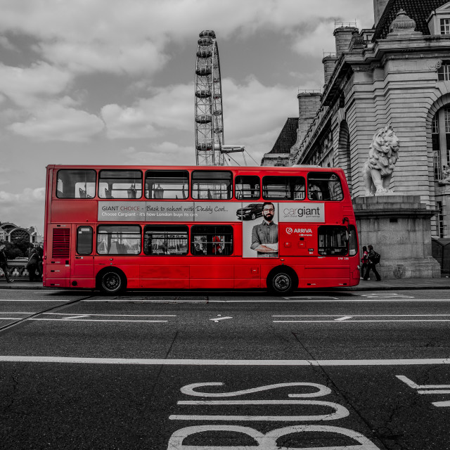 """Big Red Bus"" stock image"