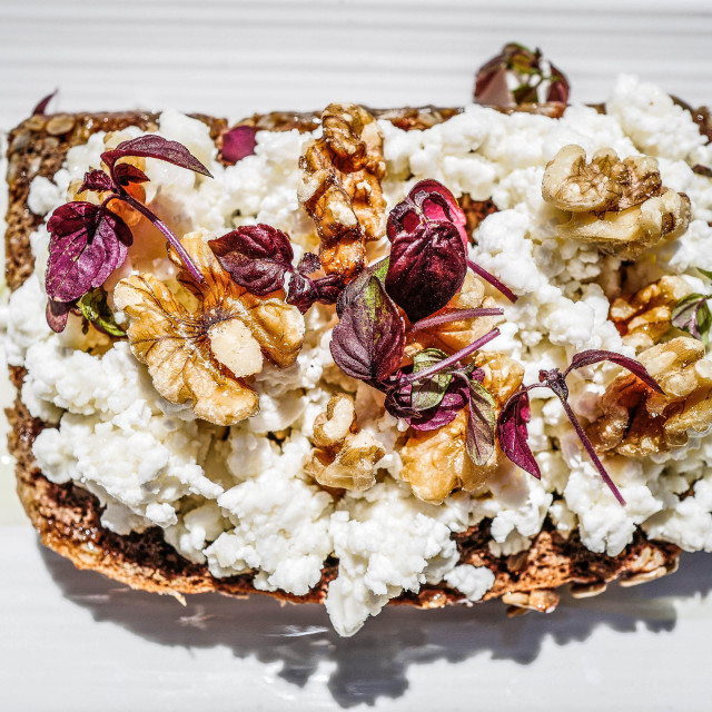 """goat cheese toast"" stock image"